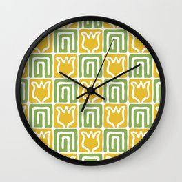 Mid Century Flower Garden Pattern 381 Yellow and Chartreuse Wall Clock