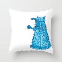 dalek Throw Pillows featuring Dalek by Margret Stewart