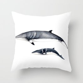 Minke whale with baby whale Throw Pillow