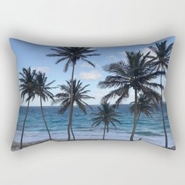Barbados Beach with Tall Palm Trees Rectangular Pillow