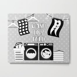 Laundry Sign - Gray, Black, White Metal Print