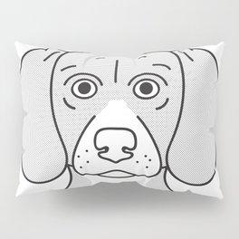 Beagle Portrait Print -Black and White Halftone Pillow Sham