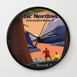 Vintage poster - Pacific Northwest Wall Clock