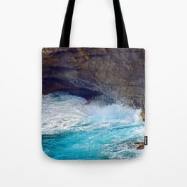 """""""Kauai's Land's End #9"""" with poem: At Times Tote Bag"""
