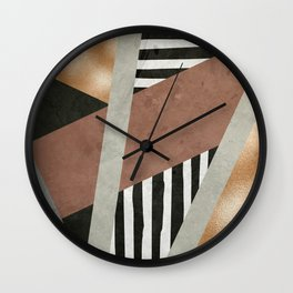 Abstract Geometric Composition in Copper, Brown, Black Wall Clock