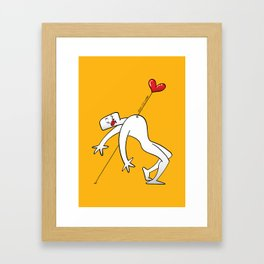 A Lucky Man Pinned by Love Framed Art Print