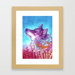 rainbow wolf Framed Art Print