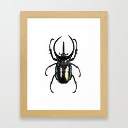 stag beetle watercolor green and black Framed Art Print