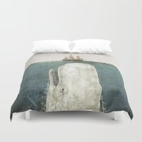 whale Duvet Covers featuring The Whale - vintage option by Terry Fan