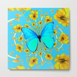 BLUE BUTTERFLY YELLOW AMARYLLIS PATTERNED ART Metal Print