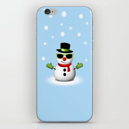 Cool Snowman with Shades and Adorable Smirk iPhone Skin