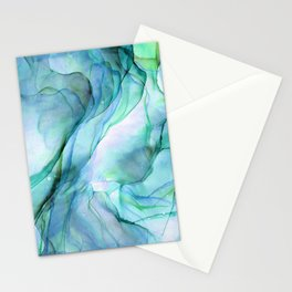 Aqua Turquoise Teal Abstract Ink Painting Stationery Cards