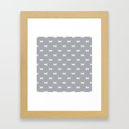 Cat silhouette cat lady cat lover grey and white minimal modern pet silhouette pattern Framed Art Print