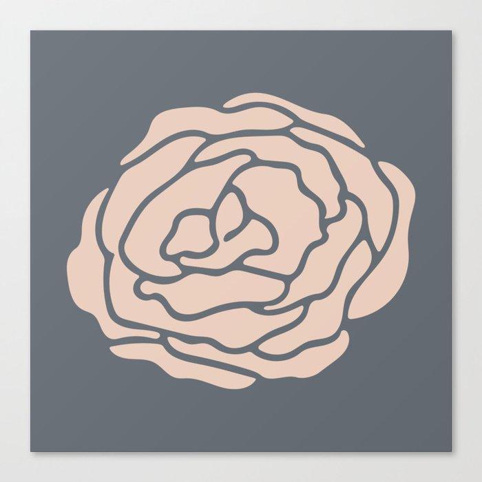 Rose Vintage Rose Pink on Pebble Gray Canvas Print