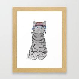 Cat in Hat Framed Art Print