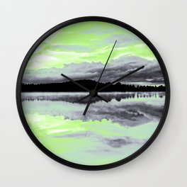 Agender Pride Sunset & Clouds over a Lake Landscape Wall Clock