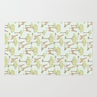 giraffes Area & Throw Rugs featuring Giraffes by Emma Margaret Illustration