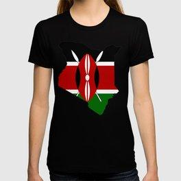 Kenya Map with Kenyan Flag T-shirt