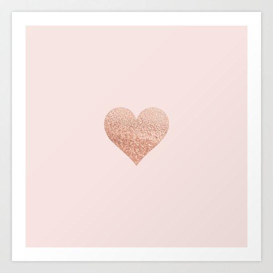 ROSEGOLD HEART BLUSH Art Print