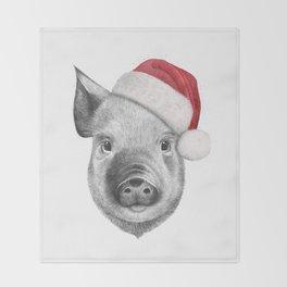 Christmas pig Throw Blanket