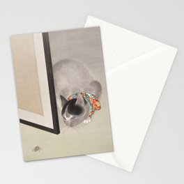 Cat Watching a Spider Japanese Painting Stationery Cards