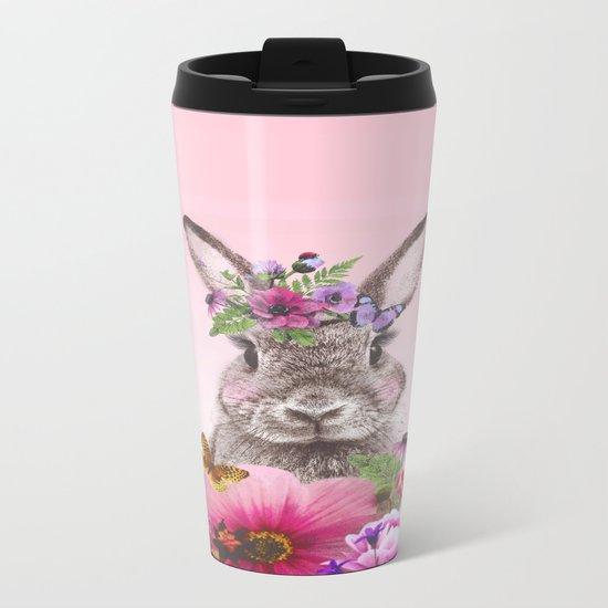 Bunny with flowers Metal Travel Mug