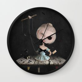 Crusher Doll Girl and black Bear Wall Clock
