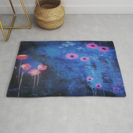 Abstract Vibrant Blue Flower Painting by Jodi Tomer. Blue, Abstract Rug