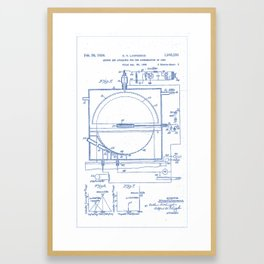 Apparatus for the Acceleration of Ions (Cyclotron!) Ernest O. Lawrence (1934) BluePrint Drawing Framed Art Print