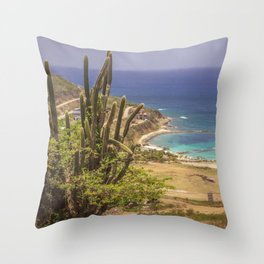 Island View with Cactus Throw Pillow