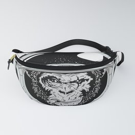 Space Monkey Black & white Fanny Pack