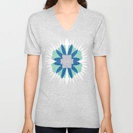 Big flower turquoise & dark blue Unisex V-Neck