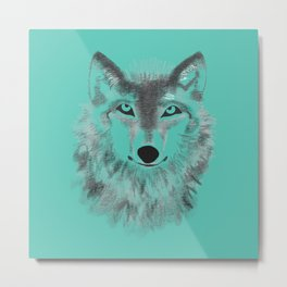 Wolf Face - Turquoise Metal Print
