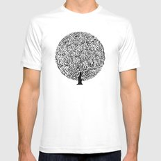 Black and White Tree Mens Fitted Tee MEDIUM White