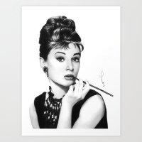 hepburn Art Prints featuring Audrey Hepburn Pencil drawing by Thubakabra