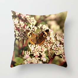 Buckeye Butterfly On Pale Pink Flowers Throw Pillow