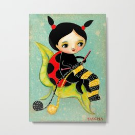 The Ladybug Knitter by Tascha Metal Print