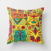 tiki Throw Pillows featuring Tiki tiki by Binnyboo