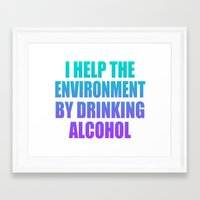 alcohol Framed Art Prints featuring Alcohol by UNDERLINE DESIGNS
