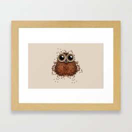 Coffee beans and cups forming owl Framed Art Print