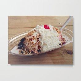 Ice cream sundae with chocolate ,peanuts and cherry Metal Print