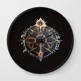 Saraswati Mandala Black Wall Clock