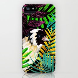 Tropical birds and green leaves iPhone Case