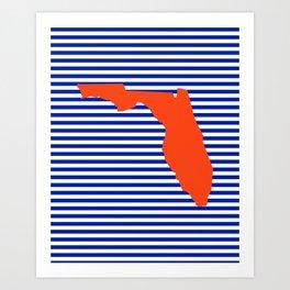 Florida university gators orange and blue college sports football stripes pattern Art Print