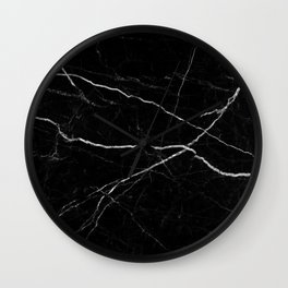 Black marble abstract texture pattern Wall Clock