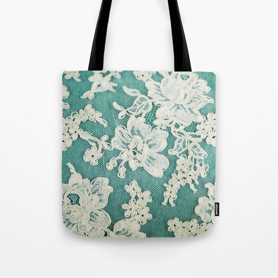 white lace - photo of vintage white lace Tote Bag