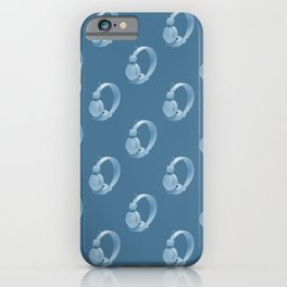 Blue over ear headphones on blue background iPhone Case
