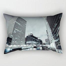 Cityscape River Night Photography Print Chicago Metropolis Rectangular Pillow