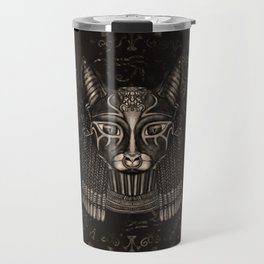 Bastet Egyptian Goddess - Sepia Travel Mug
