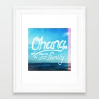 ohana Framed Art Prints featuring Ohana by Ocean Ave // Lettering and Design